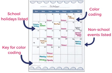 student planner example