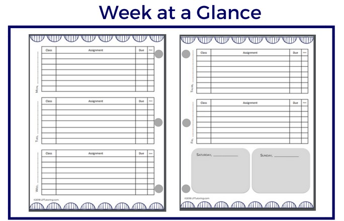 Free Printable Student Planner Pages Lp Tutoring