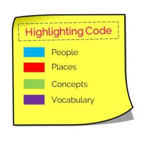 Note taking strategies highlighting code
