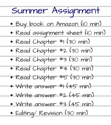 summer assignment action steps
