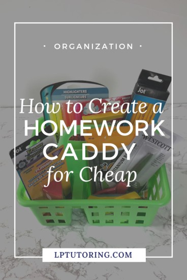A homework caddy saves your child time and frustration. Find out what to include in your caddy and how to make it inexpensively | #backtoschool #homeworkcaddy